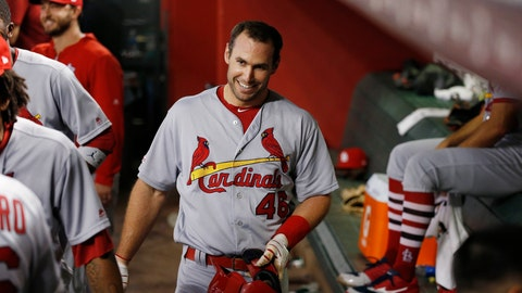 <p>               St. Louis Cardinals' Paul Goldschmidt smiles in the dugout after hitting a two-run home run against the Arizona Diamondbacks during the third inning of a baseball game Monday, Sept. 23, 2019, in Phoenix. (AP Photo/Ross D. Franklin)             </p>