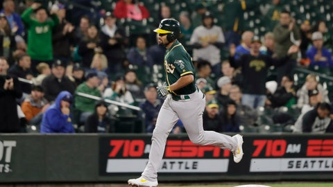 <p>               Oakland Athletics' Marcus Semien rounds the bases after hitting a solo home run during the first inning of a baseball game against the Seattle Mariners, Friday, Sept. 27, 2019, in Seattle. (AP Photo/Ted S. Warren)             </p>