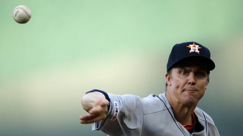 <p>               Houston Astros starting pitcher Zack Greinke throws during the first inning of the team's baseball game against the Kansas City Royals on Saturday, Sept. 14, 2019, in Kansas City, Mo. (AP Photo/Charlie Riedel)             </p>