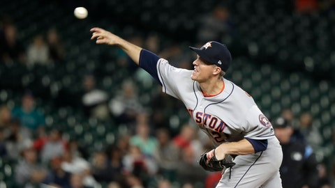 <p>               Houston Astros starting pitcher Zack Greinke throws against the Seattle Mariners during the sixth inning of the team's baseball game Wednesday, Sept. 25, 2019, in Seattle. (AP Photo/Elaine Thompson)             </p>
