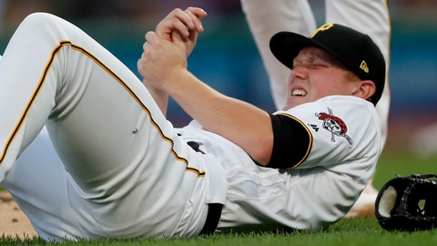 <p>               Pittsburgh Pirates starting pitcher Mitch Keller holds his arm after getting hit by line drive by Miami Marlins' Garrett Cooper during the second inning of a baseball game Tuesday, Sept. 3, 2019, in Pittsburgh. Keller left the game. (AP Photo/Keith Srakocic)             </p>