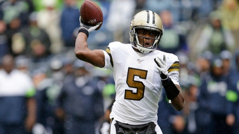 <p>               New Orleans Saints quarterback Teddy Bridgewater readies a throw against the Seattle Seahawks during the second half of an NFL football game, Sunday, Sept. 22, 2019, in Seattle. (AP Photo/Scott Eklund)             </p>