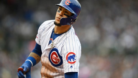 <p>               Chicago Cubs' Javier Baez reacts after being forced out at first base during the fifth inning of a baseball game against the Milwaukee Brewers, Sunday, Sept. 1, 2019, in Chicago. (AP Photo/Paul Beaty)             </p>