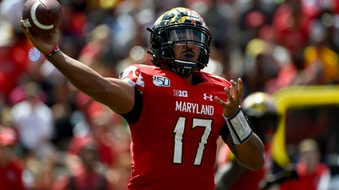 <p>               Maryland quarterback Josh Jackson (17) passes the football during the first half of an NCAA college football game against Syracuse, Saturday, Sept. 7, 2019, in College Park, Md. (AP Photo/Will Newton)             </p>