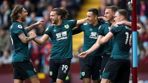 <p>               Burnley's Chris Wood, second right, celebrates scoring his side's second goal of the game against Aston Villa during their English Premier League soccer match at Villa Park in Birmingham, England, Saturday, Sept. 28, 2019. (Nick Potts/PA via AP)             </p>