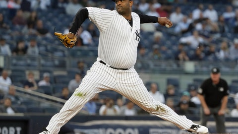 <p>               New York Yankees' CC Sabathia delivers a pitch during the first inning of the team's baseball game against the Los Angeles Angels on Wednesday, Sept. 18, 2019, in New York. (AP Photo/Frank Franklin II)             </p>