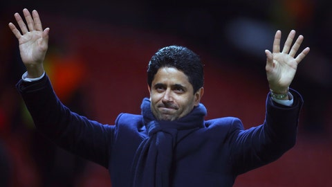"""<p>               FILE - In this Tuesday, Feb. 12, 2019 file photo, Paris Saint Germain owner Nasser bin Ghanim Al-Khelaifi waves to teams fans at the end of their soccer match against Manchester United at Old Trafford stadium in Manchester, England. Under investigation in French and Swiss criminal investigations, the president of PSG has been praised as a """"tremendous professional"""" by his UEFA executive committee colleague Andrea Agnelli on Tuesday, Sept. 10. Nasser Al-Khelaifi and European Club Association chairman Agnelli have four-year terms to represent clubs on the European soccer body's ruling panel. (AP Photo/Dave Thompson, file)             </p>"""