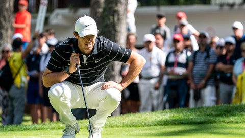 <p>               Rory McIlroy of Northern Ireland lines up a putt during the second round of the European Masters golf tournament in Crans-Montana, Switzerland, Friday, Aug. 30, 2019. (Alexandra Wey/Keystone via AP)             </p>