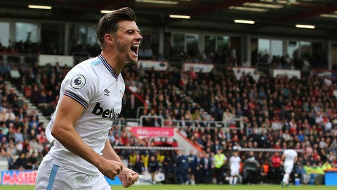 <p>               West Ham United's Aaron Cresswell celebrates scoring his side's second goal of the game against Bournemouth during their English Premier League soccer match at the Vitality Stadium in Bournemouth, England, Saturday, Sept. 28, 2019. (Mark Kerton/PA via AP)             </p>