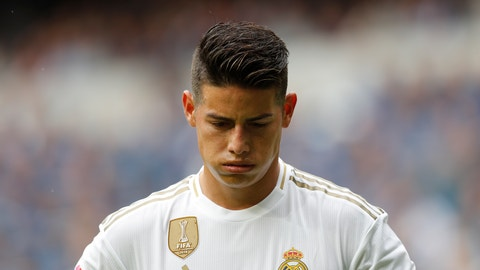 <p>               Real Madrid James Rodriguez looks down during the Spanish La Liga soccer match between Real Madrid and Levante at the Santiago Bernabeu stadium in Madrid, Spain, Saturday, Sept. 14, 2019. (AP Photo/Bernat Armangue)             </p>