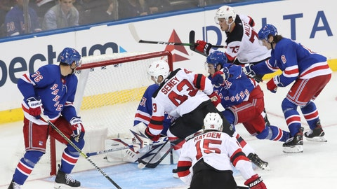 <p>               New Jersey Devils left wing Brett Seney (43) scores a goal against the New York Rangers during the third period of a preseason NHL hockey game Wednesday, Sept. 18, 2019, at Madison Square Garden in New York. (AP Photo/Mary Altaffer)             </p>