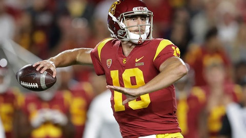 <p>               Southern California quarterback Matt Fink throws a pass against Utah during the first half of an NCAA college football game Friday, Sept. 20, 2019, in Los Angeles. (AP Photo/Marcio Jose Sanchez)             </p>