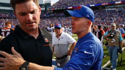 <p>               Buffalo Bills head coach Sean McDermott, right, talks to Cincinnati Bengals head coach Zac Taylor after an NFL football game Sunday, Sept. 22, 2019, in Orchard Park, N.Y. The Bills won 21-17. (AP Photo/John Munson)             </p>