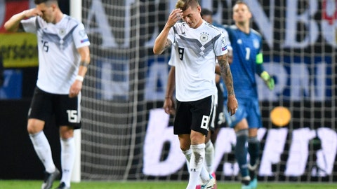 <p>               Germany's Toni Kroos reacts after the Netherland's second goal during the Euro 2020 group C qualifying soccer match between Germany and the Netherlands at the Volksparkstadion in Hamburg, Germany, Friday, Sept. 6, 2019. (AP Photo/Martin Meissner)             </p>