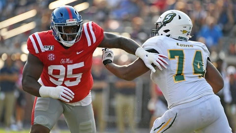 <p>               CORRECTS TO SECOND HALF - Mississippi defensive lineman Benito Jones (95) is blocked by Southeastern Louisiana offensive lineman Jarius Gooch (74) during the second half of an NCAA college football game in Oxford, Miss., Saturday, Sept. 14, 2019. Mississippi won 40-29. (AP Photo/Thomas Graning)             </p>