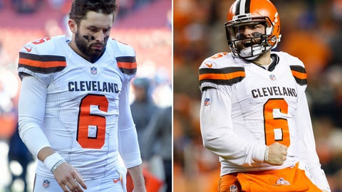 <p>               FILE - At left, in an Oct. 14, 2018, file photo, Cleveland Browns quarterback Baker Mayfield walks off the field after the team lost to the Los Angeles Chargers in an NFL football game in Cleveland. At right, in a Dec. 15, 2018, file photo, Cleveland Browns quarterback Baker Mayfield (6) celebrates after leading his team to a touchdown during an NFL football game against the Denver Broncos in Denver. Beginning Sunday when they host Tennessee, we'll find out if the new and improved Browns are exactly that, and a playoff contender. Or if they will do what the Browns nearly always have done since returning to the NFL in 1999, and disappoint the Dawg Pound. (AP Photo/File)             </p>