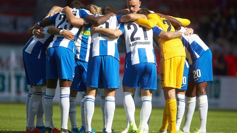 <p>               This Saturday, Sept. 14, 2019 taken photo shows Hertha BSC players gather prior to the Bundesliga match against FSV Mainz 05 in Mainz, Germany. Hertha Berlin's fresh start under a new coach with additional millions provided by a new backer is not going to plan. Hertha has only one point from four Bundesliga games, its laudable 2-2 draw at defending champion Bayern Munich now but a distant memory after three straight defeats. (Thomas Frey/dpa via AP)             </p>