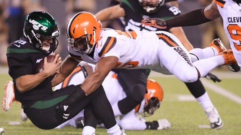 <p>               Cleveland Browns' Myles Garrett (95) sacks New York Jets' Trevor Siemian (19) during the first half of an NFL football game Monday, Sept. 16, 2019, in East Rutherford, N.J. (AP Photo/Bill Kostroun)             </p>