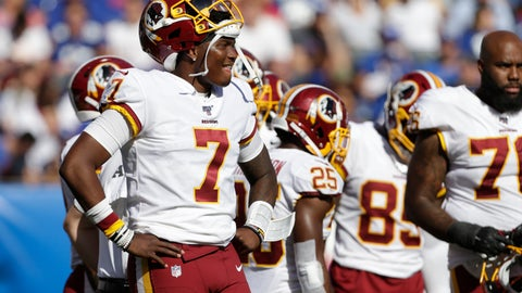 <p>               Washington Redskins quarterback Dwayne Haskins watches a play on the field during the second half of an NFL football game against the New York Giants, Sunday, Sept. 29, 2019, in East Rutherford, N.J. (AP Photo/Adam Hunger)             </p>