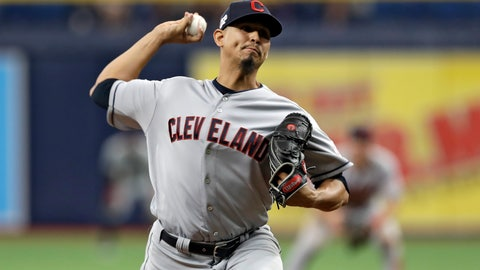 <p>               Cleveland Indians pitcher Carlos Carrasco delivers to the Tampa Bay Rays during the seventh inning of a baseball game Sunday, Sept. 1, 2019, in St. Petersburg, Fla. Carrasco is making his first appearance since May when he was diagnosed with leukemia. (AP Photo/Chris O'Meara)             </p>