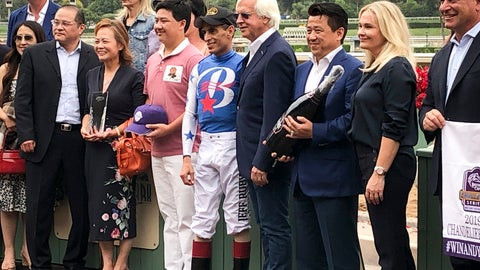 <p>               Jockey John Velazquez stands in the winner circle after setting a North American record for career graded stakes wins, Friday, Sept. 27, 2019, in Atcadia, Calif. He won the $300,000 Chandelier Stakes aboard Bast at Santa Anita on Friday, snapping a tie with fellow Hall of Famer Jerry Bailey. (AP Photo/Beth Harris)             </p>