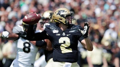 <p>               Purdue quarterback Elijah Sindelar (2) throws against Vanderbilt during the first half of an NCAA college football game in West Lafayette, Ind., Saturday, Sept. 7, 2019. (AP Photo/Michael Conroy)             </p>