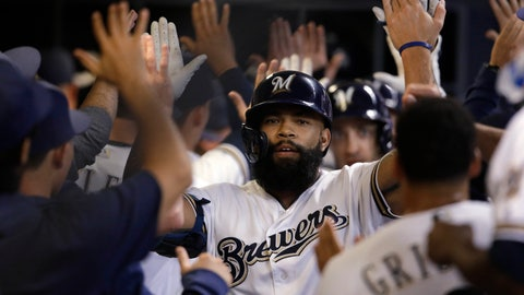<p>               Milwaukee Brewers' Eric Thames is congratulated in the dugout after his three-run home run against the Houston Astros during the third inning of a baseball game Tuesday, Sept. 3, 2019, in Milwaukee. (AP Photo/Jeffrey Phelps)             </p>