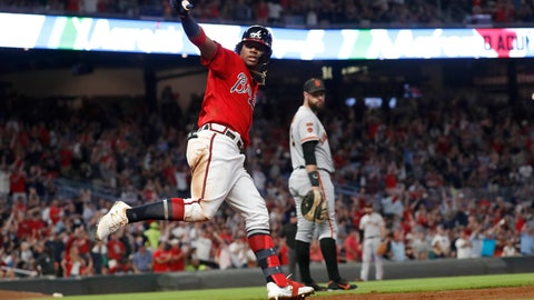 <p>               Atlanta Braves center fielder Ronald Acuna Jr. (13) reacts as he rounds first base after hitting a two-run home run in the fifth inning of a baseball game against the San Francisco Giants, Friday, Sept. 20, 2019, in Atlanta. (AP Photo/John Bazemore)             </p>