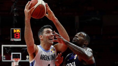 <p>               Luis Scola of Argentina, left, is challenged by Ra Guna of South Korea during their group phase basketball game in the FIBA Basketball World Cup, at the Sport Center in Wuhan in central China's Hubei province, Saturday, Aug. 31, 2019. (AP Photo/Andy Wong)             </p>