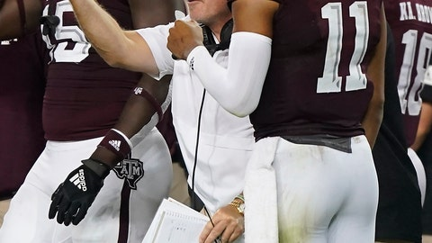 <p>               Texas A&M head coach Jimbo Fisher reacts after Texas A&M quarterback Kellen Mond (11) returns to the sideline after throwing an interception against Lamar during the second half of an NCAA college football game, Saturday, Sept. 14, 2019, in College Station, Texas. (AP Photo/Sam Craft)             </p>