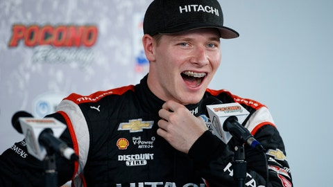<p>               File-This Aug. 17, 2019, file photo shows Josef Newgarden laughing during a news conference for Sunday's IndyCar Series auto race at Pocono Raceway, in Long Pond, Pa. Newgarden has been the IndyCar points leader for all but one race this season and built enough of a cushion that his mindset has changed as the championship race speeds into an anticlimactic final two events of the year. (AP Photo/Matt Slocum, File)             </p>