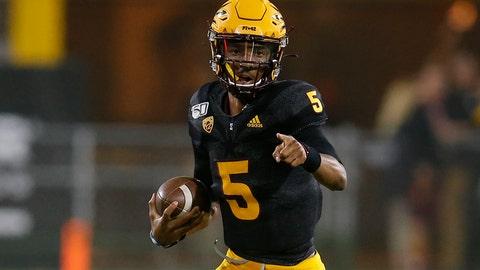<p>               Arizona State quarterback Jayden Daniels runs for a first down against Colorado during the first half of an NCAA college football game Saturday, Sept. 21, 2019, in Tempe, Ariz. (AP Photo/Rick Scuteri)             </p>