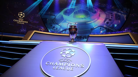 <p>               The Champions League trophy is displayed before the UEFA group stage draw at the Grimaldi Forum, in Monaco, Thursday, Aug. 29, 2019. (AP Photo/Daniel Cole)             </p>