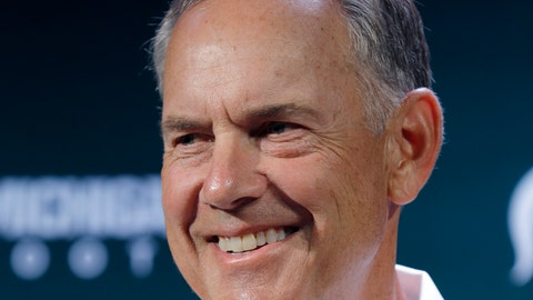 <p>               FILE - In this Aug. 5, 2019, file photo, Michigan State football coach Mark Dantonio talks with reporters during the team's NCAA college football media day, in East Lansing, Mich. Dantonio needs one more victory to tie the school record at Michigan State. The Spartans host Western Michigan this weekend. (AP Photo/Al Goldis, File)             </p>