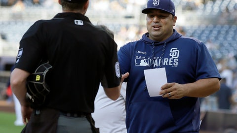 <p>               San Diego Padres interim manager Rod Barajas, right, meets with home plate umpire Alex Tosi before a baseball game against the Arizona Diamondbacks in San Diego, Saturday, Sept. 21, 2019. (AP Photo/Alex Gallardo)             </p>