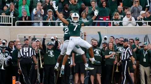 <p>               Michigan State's Cody White (7) and Darrell Stewart celebrate Stewart's touchdown reception against Indiana during the second quarter of an NCAA college football game, Saturday, Sept. 28, 2019, in East Lansing, Mich. (AP Photo/Al Goldis)             </p>
