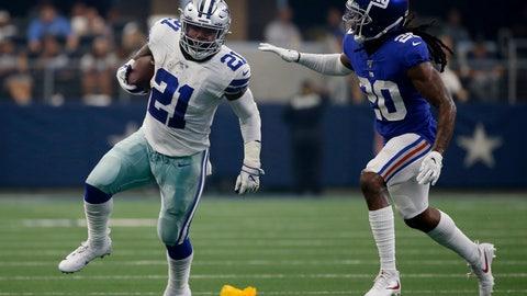 <p>               Dallas Cowboys running back Ezekiel Elliott (21) runs the ball as New York Giants cornerback Janoris Jenkins (20) defends in the first half of a NFL football game in Arlington, Texas, Sunday, Sept. 8, 2019. (AP Photo/Ron Jenkins)             </p>