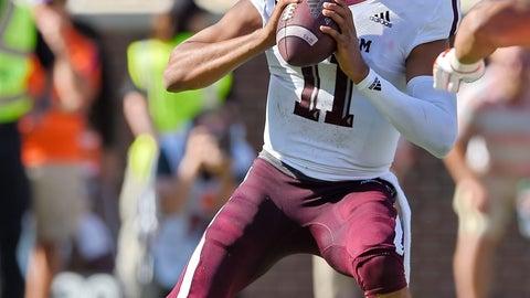 <p>               Texas A&M quarterback Kellen Mond drops back to pass during the first half of an NCAA college football game against Clemson Saturday, Sept. 7, 2019, in Clemson, S.C. (AP Photo/Richard Shiro)             </p>