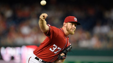 <p>               Washington Nationals starting pitcher Stephen Strasburg delivers during the third inning of a baseball game against the Miami Marlins, Saturday, Aug. 31, 2019, in Washington. (AP Photo/Nick Wass)             </p>