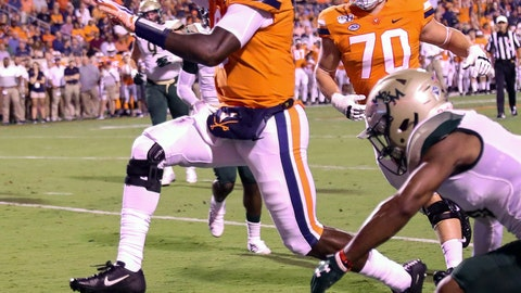 <p>               Virginia quarterback Bryce Perkins (3) runs for a touchdown next to William & Mary cornerback Corey Parker during the first half of an NCAA college football game in Charlottesville, Va., Friday, Sept. 6, 2019. (AP Photo/Andrew Shurtleff)             </p>
