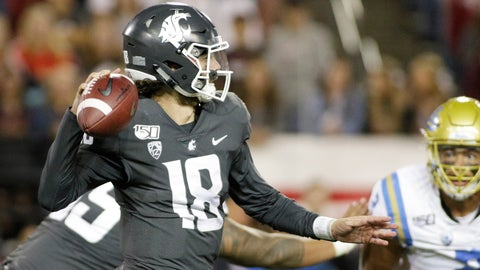 <p>               Washington State quarterback Anthony Gordon (18) prepares to pass the ball during the second half of an NCAA college football game against UCLA in Pullman, Wash., Saturday, Sept. 21, 2019. UCLA won 67-63 (AP Photo/Young Kwak)             </p>
