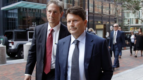 <p>               Devin Sloane, right, arrives at federal court for sentencing in a nationwide college admissions bribery scandal, Tuesday, Sept. 24, 2019, in Boston. Sloane admitted to paying $250,000 to get his son into the University of Southern California as a fake athlete. (AP Photo/Elise Amendola)             </p>