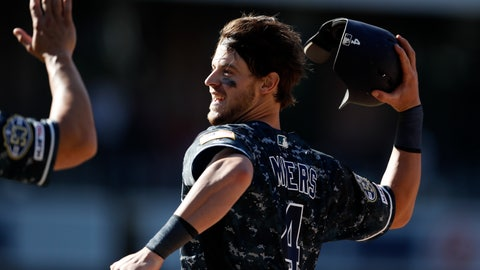 <p>               San Diego Padres' Wil Myers celebrates after hitting a walkoff RBI-single during the tenth inning of a baseball game against the Colorado Rockies, Sunday, Sept. 8, 2019, in San Diego. The Padres won, 2-1. (AP Photo/Gregory Bull)             </p>