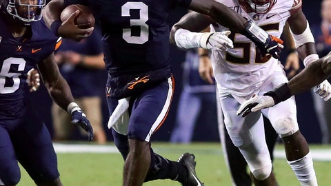 <p>               Virginia quarterback Bryce Perkins (3) runs the ball past Florida State linebacker Emmett Rice (56) during the first half of an NCAA college football game in Charlottesville, Va., Saturday, Sept. 14, 2019. (AP Photo/Andrew Shurtleff)             </p>