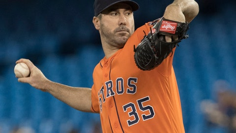 <p>               Houston Astros starting pitcher Justin Verlander throws against the Toronto Blue Jays during the first inning of a baseball game in Toronto, Sunday, Sept. 1, 2019. (Fred Thornhill/The Canadian Press via AP)             </p>