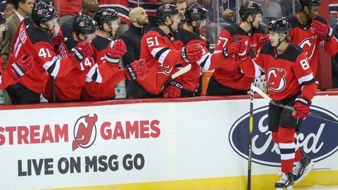 <p>               New Jersey Devils center Jack Hughes celebrates after scoring a goal during the first period of the team's preseason NHL hockey game against the New York Rangers, Friday, Sept. 20, 2019, in Newark, N.J. (AP Photo/Mary Altaffer)             </p>