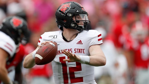 <p>               Arkansas State quarterback Logan Bonner (12) throw from the pocket in the first half of an NCAA college football game against Georgia Saturday, Sept. 14, 2019, in Athens, Ga. (AP Photo/John Bazemore)             </p>