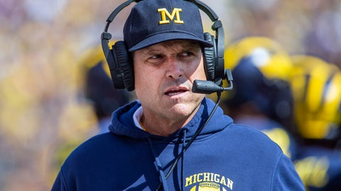 <p>               FILE - In this Saturday, Sept. 7, 2019. file photo,Michigan head coach Jim Harbaugh wears his headset on the sidelines in the first quarter of an NCAA football game against Army in Ann Arbor, Mich. Michigan is heading into the first really big Big Ten game of the season. The Wolverines face No.  13 Wisconsin in Madison on Saturday, Sept. 21, 2019.  (AP Photo/Tony Ding, File)             </p>