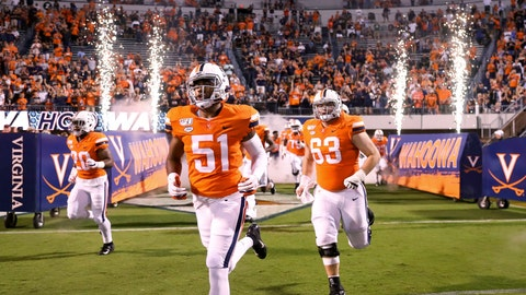 <p>               Virginia players take the field for an NCAA college football game against William & Mary in Charlottesville, Va., Friday, Sept. 6, 2019. (AP Photo/Andrew Shurtleff)             </p>