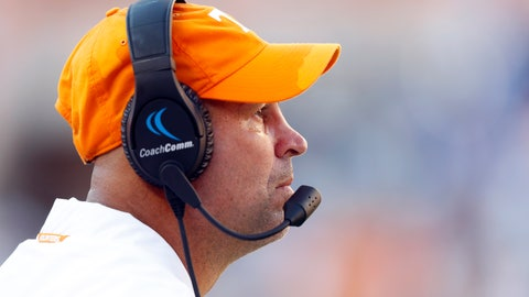 <p>               Tennessee head coach Jeremy Pruitt watches from the sideline in the second half of an NCAA college football game against Georgia State, Saturday, Aug. 31, 2019, in Knoxville, Tenn. (AP Photo/Wade Payne)             </p>